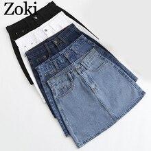 Zoki Sexy femmes Denim Mini jupe mode été taille haute coréen noir jupe bleu paquet hanche jean Harajuku grande taille coton