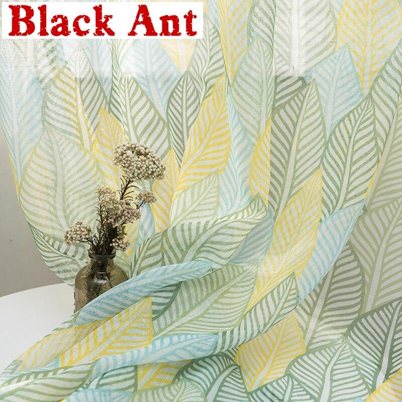Cortina transparente de hojas coloridas para sala de estar, cortina de gasa de lino para dormitorio, balcón, Pastoral, hecha a medida X712 #40