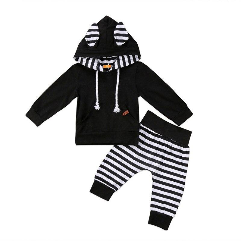 Precioso niño recién nacido niños bebés niños niñas trajes ropa 2 uds conjunto de algodón suave Color parche con capucha camisa pantalones a rayas