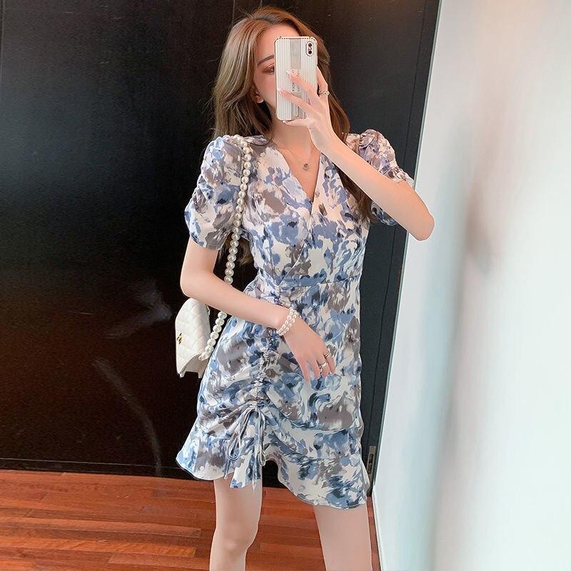 2021 Summer French Retro Ruffled Drawstring Pleated Waist Slim Floral Fishtail Dress