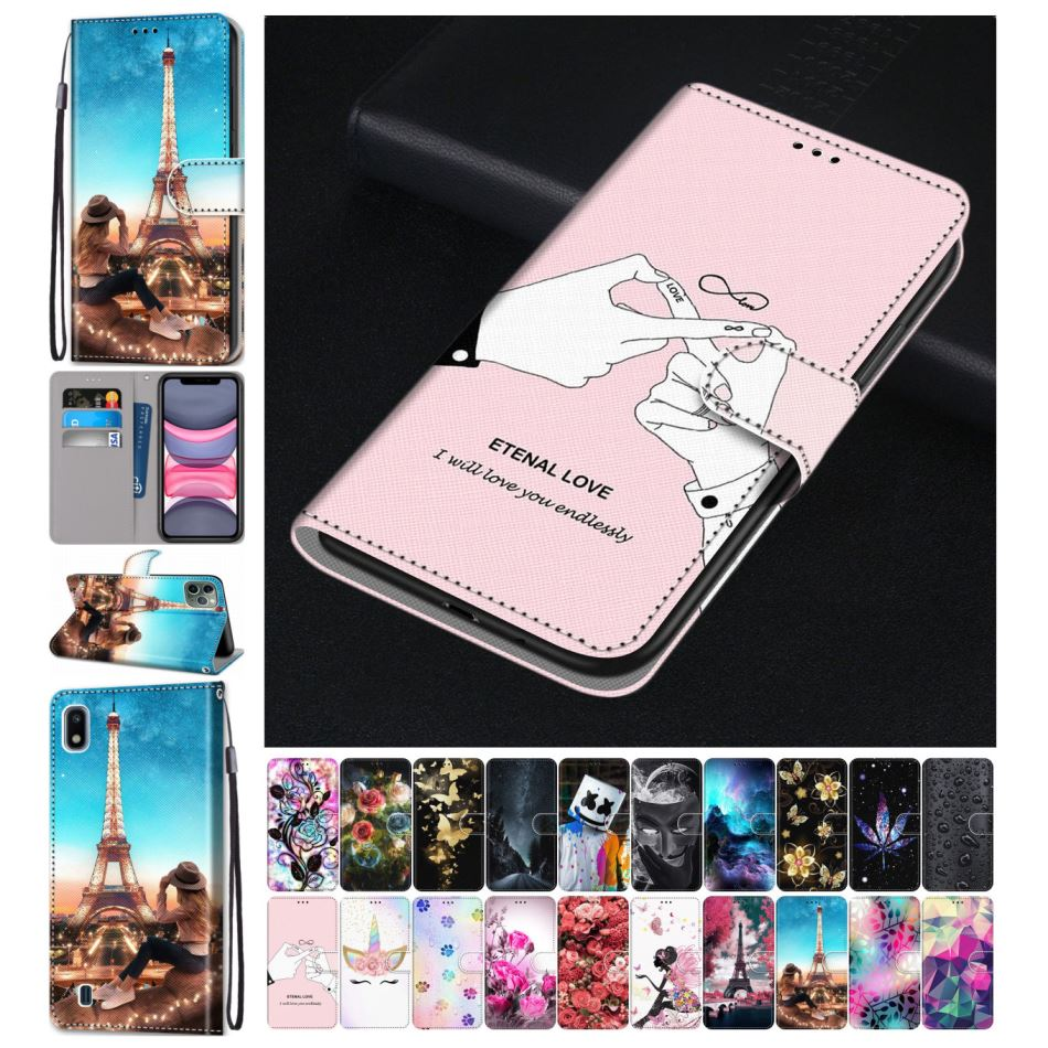 Bonitas bolsas de cuero para teléfono Motorola Moto E4 Plus E5 G6 Play G7 Play G7 Power billetera color rosa funda Tower Sky Flip Fundas D08F