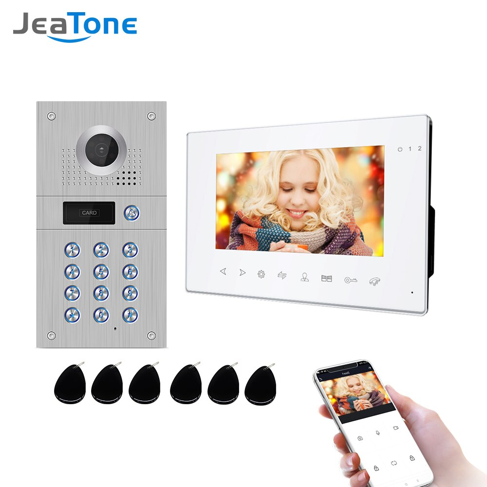 Jeatone 7 بوصة تويا اللاسلكية واي فاي 960p فيديو إنترفون للمنزل IP جرس باب يتضمن شاشة عرض فيديو كلمة السر إفتح AHD شاشة واي فاي نظام اتصال داخلي