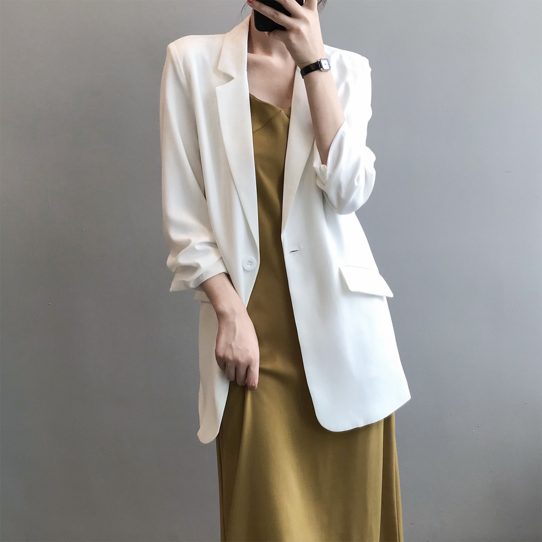 Korean Style Loose Women Blazer Summer Autumn Thin Single Buttons Female Oversized Suit Jacket OL La