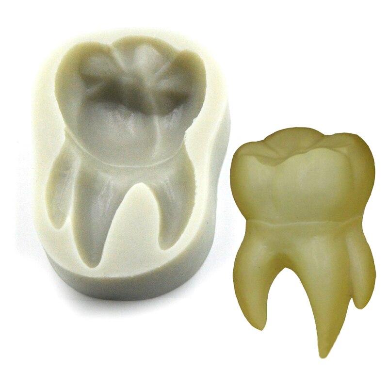 Molde de líquido para hornear con forma de diente, serie DIY para hornear, molde de silicona pegajoso, fondant, pastel de decoración