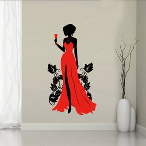 Evening Dress Wall Sticker for Clothing Store Salon Glass Window Decoration Beauty Mural Decals Posters Girl Bedroom Home Design