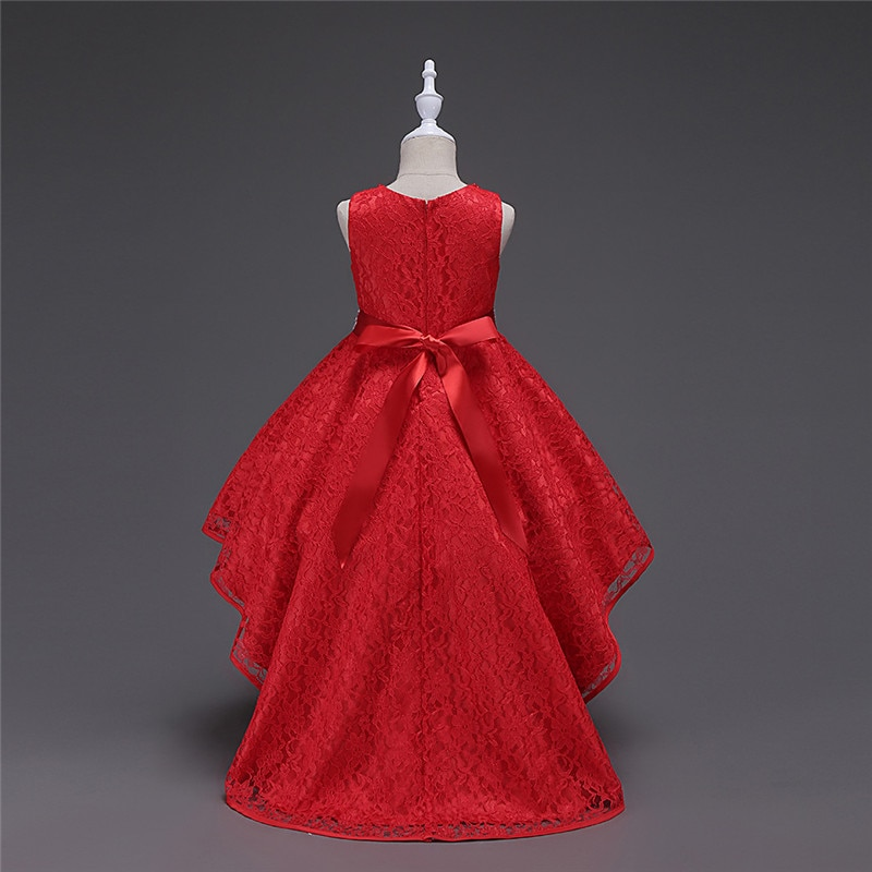 3-14T Girls Trailing Party Dress Kids Embroidered Formal Wedding Graduation Gown Christmas Princess Formal Girl Dresses