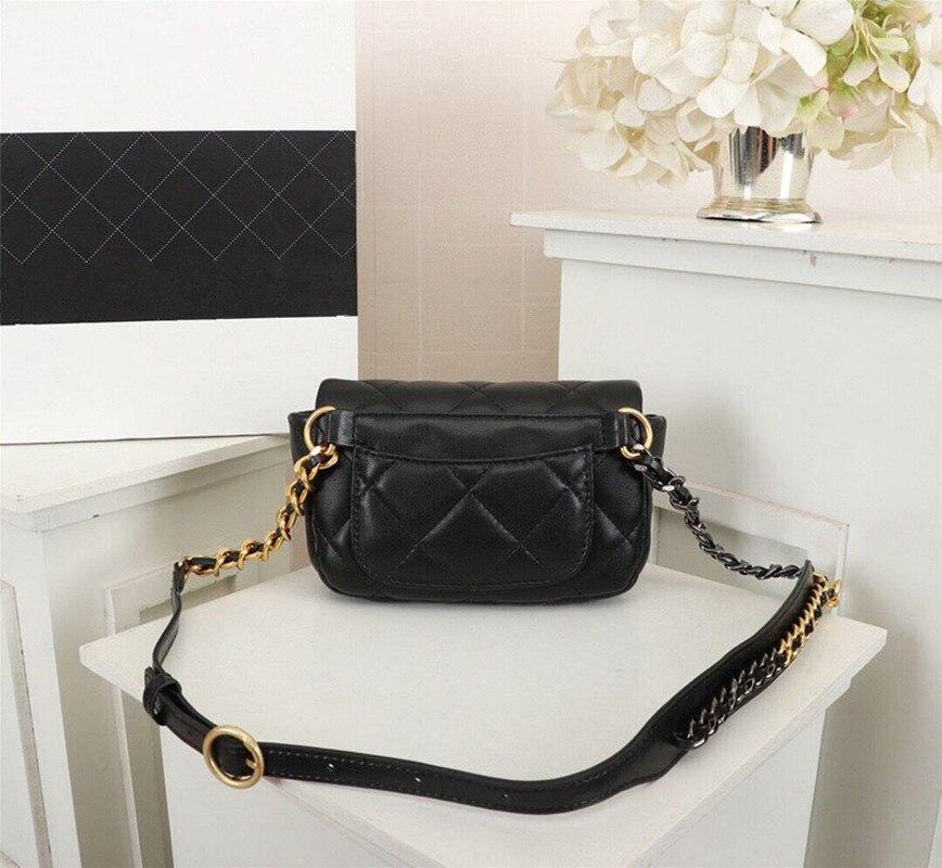 New Classic Women's Genuine Leather Plaid Shoulder Bag Black with Gold Grey Silver Chain Handbag Bag