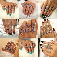 28style retro antique silver color crystal water drop crown seahorse star moon heart ring glamour fashion set women jewelry