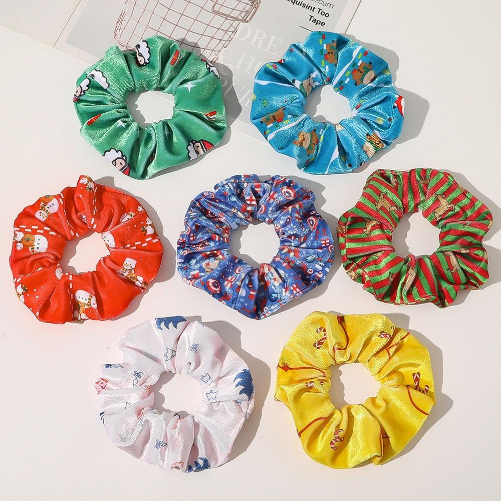 2020 Christmas Gift Hair Bands Cute Velvet Hair Decorations for Girls Holiday Cute Children Anime Hair Ornaments Scrunchies