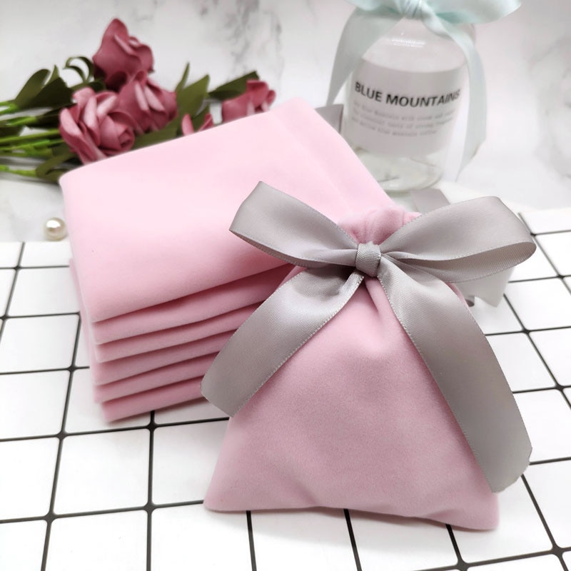 AliExpress - 50Pcs 7cmx9cm Jewelry Velvet Bags With Ribbon Flannel Pouches Wedding Candy Gift Packing Christmas Decoration Can Custom Logo