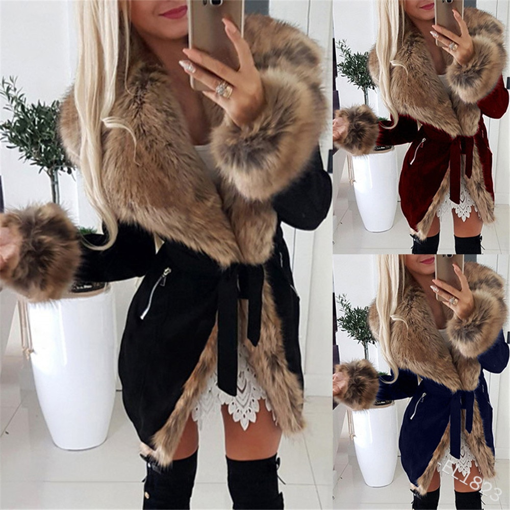 Oversized Jacket Women Fur Hooded Slim Drawstring Long Sleeve Thicken Warm Winter Coat OL Style Outerwear
