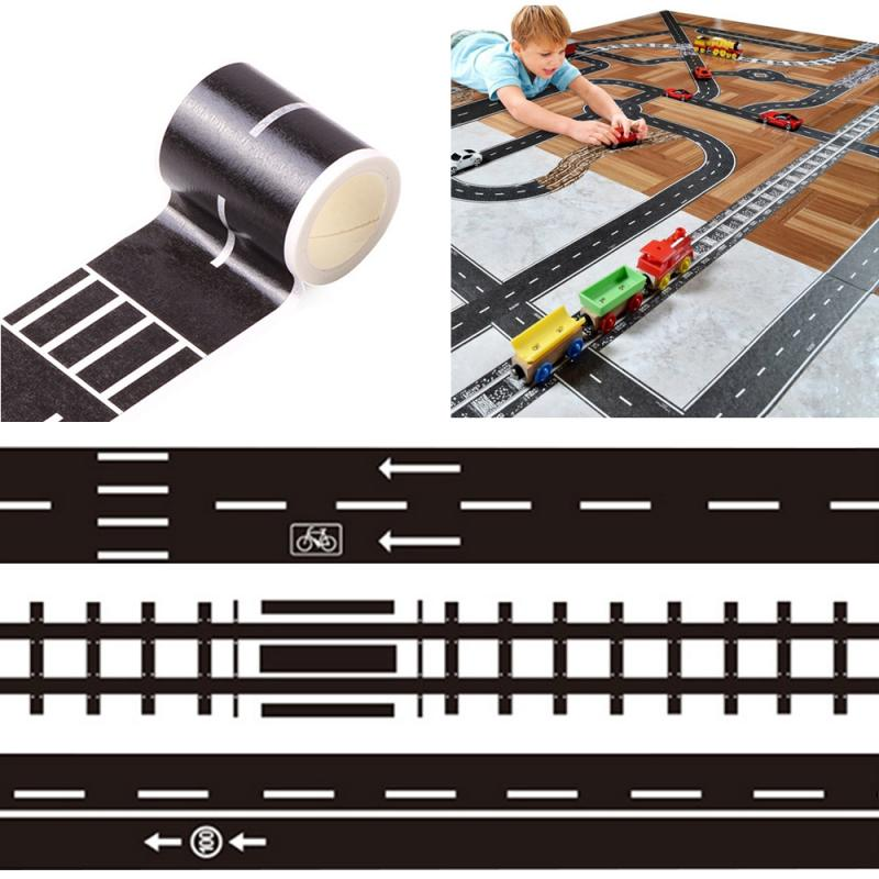 New Floor Sticker Creative DIY Highway Railway Paper Tape Removable Track Road Kids Traffic Car Toy Adhesive House Decoration