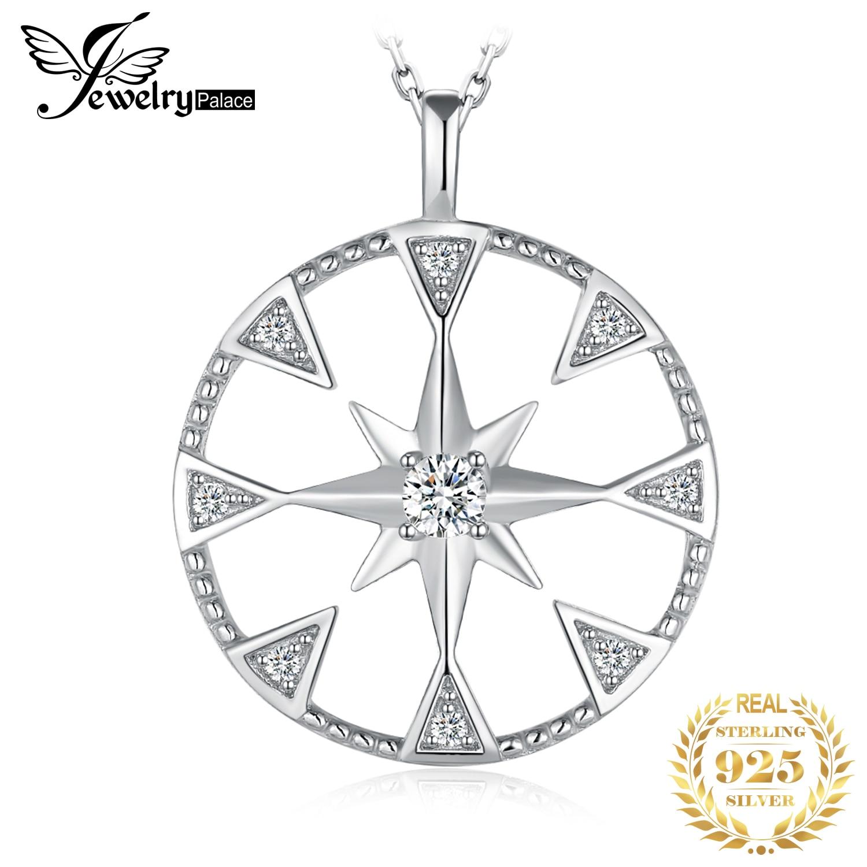 Jewelrypalace milgrain corte moeda estrela do norte pingente colar sem corrente 925 pingente de prata esterlina moda jóias fazendo