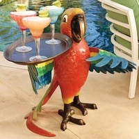 creative carving retro parrot wine tray realistic multi purpose resin party bird drink serving rack statue home craft decoration