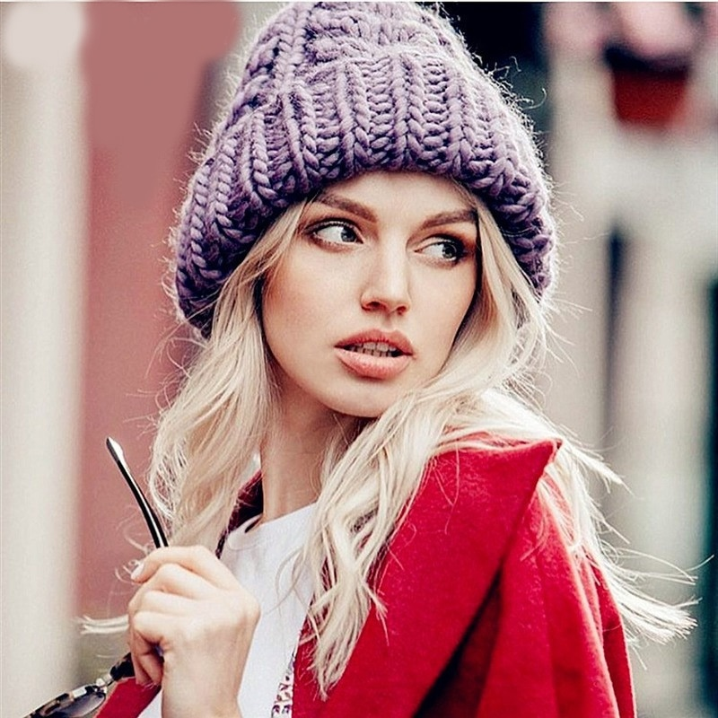 Women Winter Knitted  Hat Thick Soft Warm Coarse Large Solid Female Ice Ski Bonnet Skullies Cap
