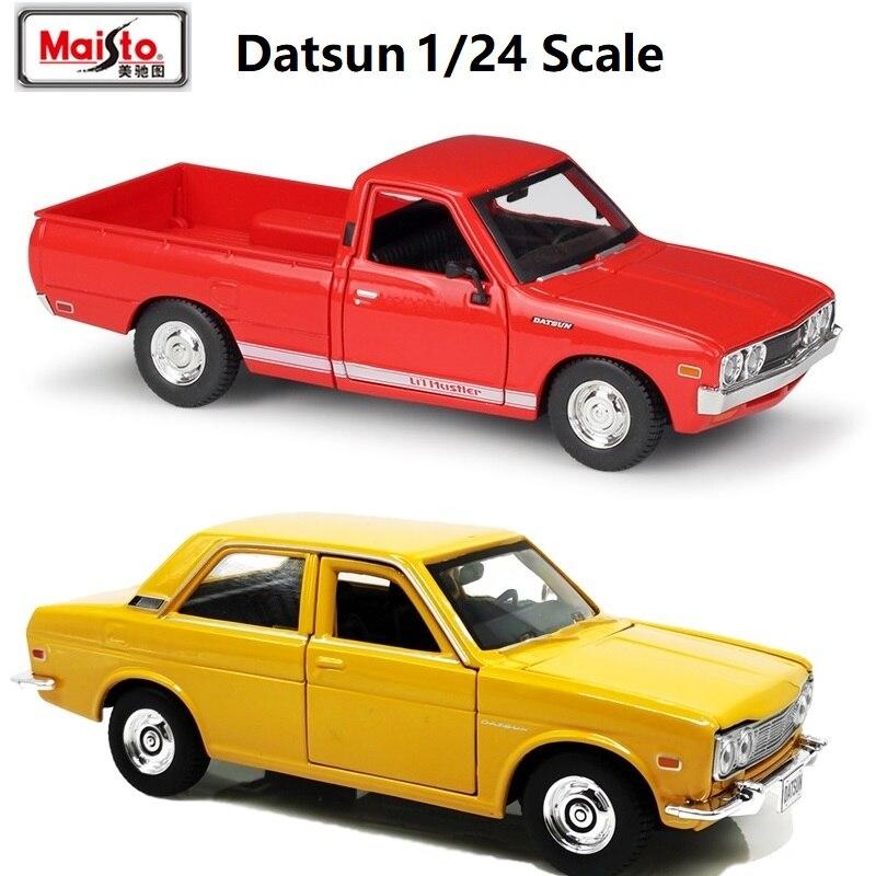 124 Maisto 1973 Datsun 620 camioneta rojo 1971 Datsun amarillo 510