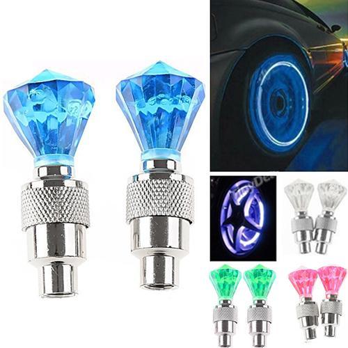 2 uds., lámpara de luz intermitente para válvula de neumático, luz para rueda de neumático para bicicleta de coche, luz de rueda de bicicleta al aire libre