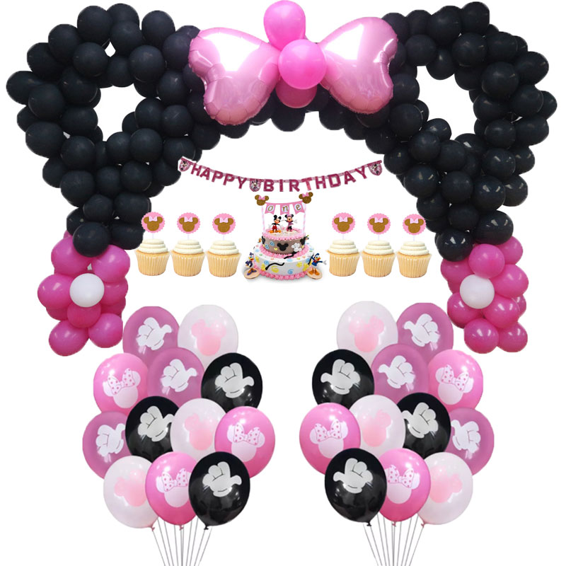 Disney Minnie mouse party latex balloon decor First Birthday Decor Baby Shower Happy Decoration Sweet Kids Party