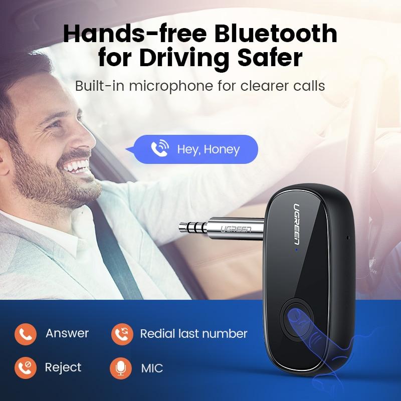Ugreen Bluetooth Receiver 5.0 aptX LL 3.5mm AUX Jack Audio Wireless Adapter for Car PC Headphones Mic 3.5 Bluetooth 5.0 Receptor