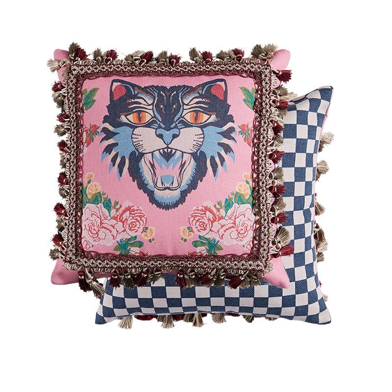 ميدتشي المنزل GG غطاء الوسادة أفضل عيد الحب هدية المنزل القط طباعة تصميم المخملية رمي كيس وسادة الوسائد الفاخرة يدوية