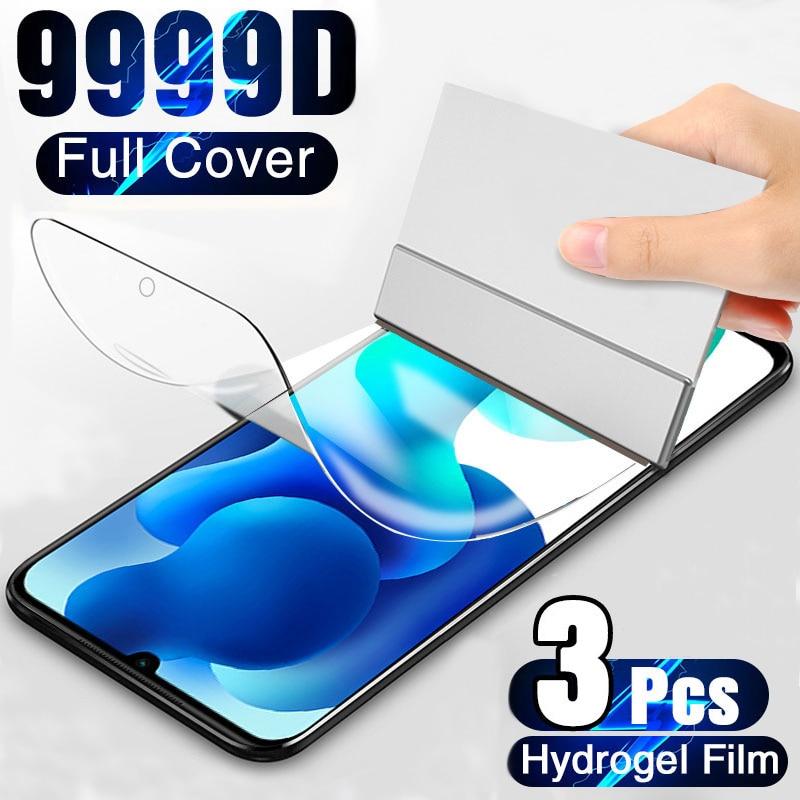 3 uds 9999D hidrogel de película para Xiaomi Redmi nota Nota 10 Pro Nota 9 Nota 9 Pro Redmi Note 8 Pro Nota 8 Nota 9S Protector de pantalla