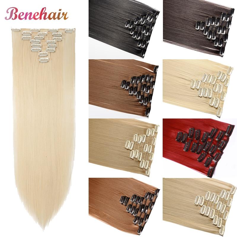 Clips de pelo BENEHAIR de 23 pulgadas, Clips en extensión de pelo, peluca larga recta para mujeres, extensiones de pelo sintético, rojo, negro, marrón