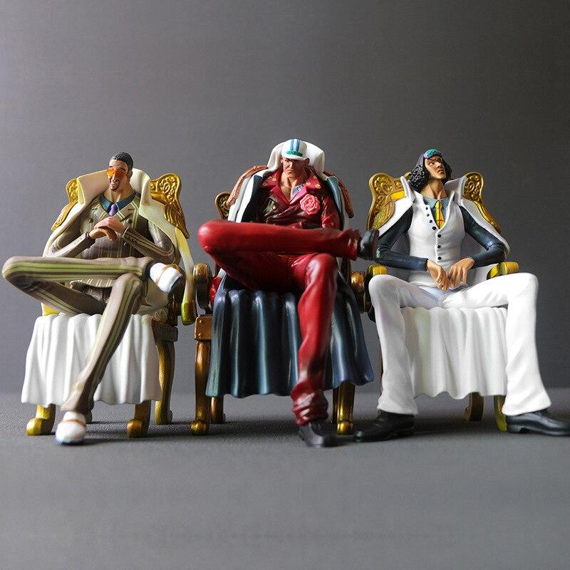 Figura de acción de Anime Een Stuk, Rey náutico, tres generales de la Marina, figura coleccionable de resina, modelo Speelgoed Pop Geschenken, Cosplay