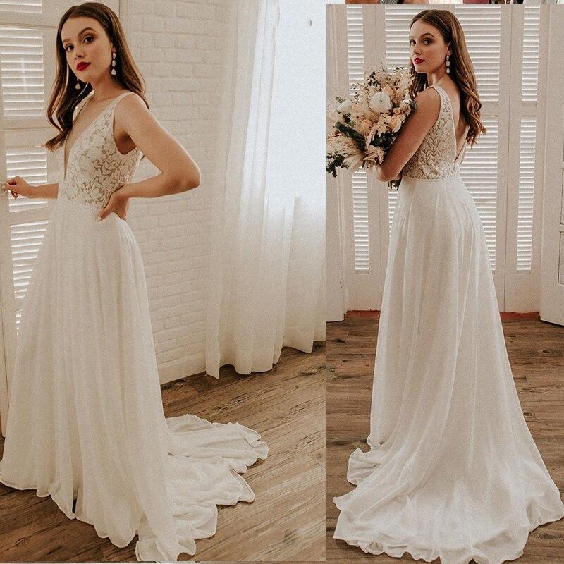 Promo Wedding Dress Boho Simple Lace And Chiffon Backless Bohemian Bridal A-Line Bridal Gowns Sleeveless 2020 Sweep Train Gorgeous