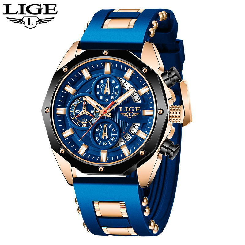 2020 LIGE New Fashion Mens Watches Top Brand Luxury Silicone Sport Watch Men Quartz Date Clock Waterproof Wristwatch Chronograph 2020 lige watches mens top brand luxury sport quartz chronograph stainless steel men watch fashion waterproof clock reloj hombre