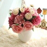 10 tetes Rose fleurs artificielles soie Dahlia Daisy fausses fleurs de mariage Simulation fleur maison deco nuptiale mariage decor