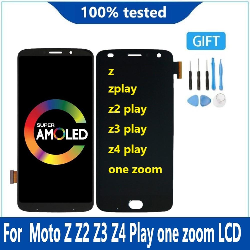 AMOLED لموتورولا موتو Z Z2 Z3 اللعب Z4 واحد التكبير شاشة LCD محول الأرقام الجمعية استبدال مع حرق الظل Z3 اللعب Lcd
