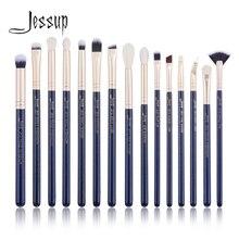 Jessup 15 pièces prussien bleu/or sables pinceaux de maquillage ensemble kits de beauté pinceau de maquillage pour les yeux fard à paupières pinceau à lèvres mélangeur