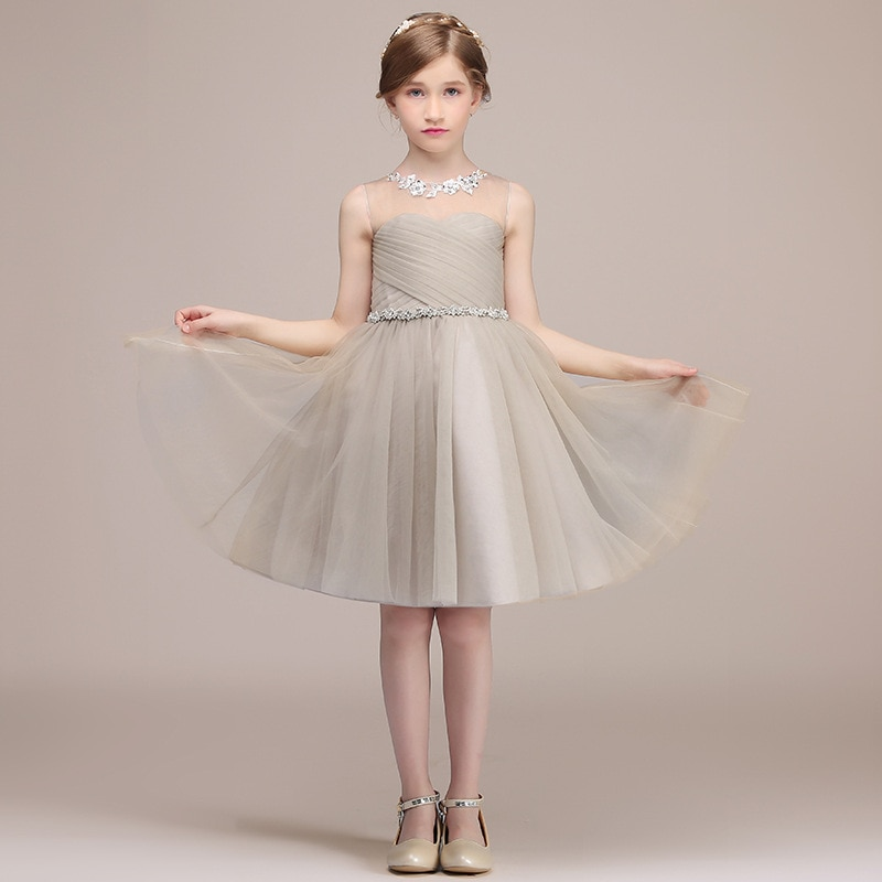 champagne kids girl formal party dress long tulle communion princess gowns flower girl dresses for wedding birthday Beige Flower Girl Dresses Wedding Party Formal Dresses For Kids Girl Tulle Birthday Communion Princess Gown Knee Length