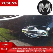 Poignée de porte en ABS intérieur en couleur chromée pour Mitsubishi L200 Triton 2006 2007 2008 2009 2010 2011 2012 2013 2014 style de voiture
