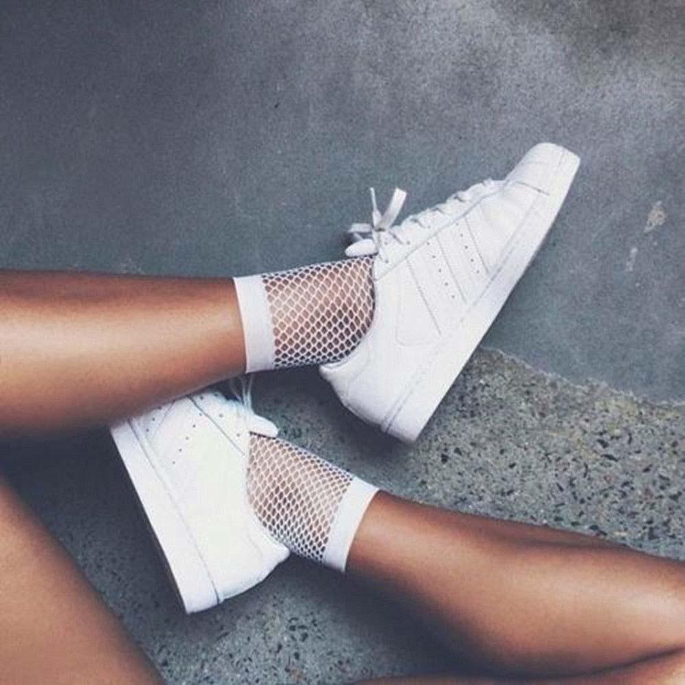 1 Pair/set New White Hollow Sock Net Lady Girl Short Ankle High Mesh Lace Soild Fish  Womens Socks 2021 Fashion