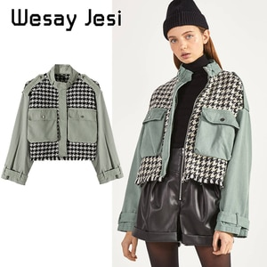Fashion Trend 2020 Women's Jacket Coat Autumn Stitching Tweed Women's Jacket High Collar Retro Loose Big Pocket Light Green