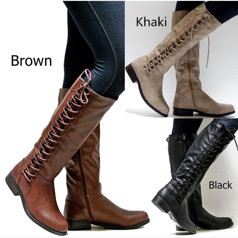 Roma estilo bota militar feminina, botas de couro sintético, longas, de inverno 2019 botas da moda