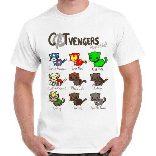 Catvengadores marvle Comic gato gatito hombres mujeres Cool regalo Unisex Retro camiseta 678Tops venta al por mayor Tee personalizado estampado ambiental Tshi