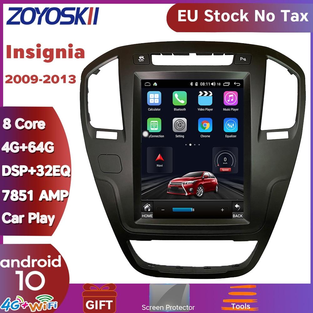 ZOYOSKII Android 9,0 os 10,4 pulgadas gps para coche radio multimedia bluetooth reproductor de navegador para Opel insignia 2009-2013 carplay
