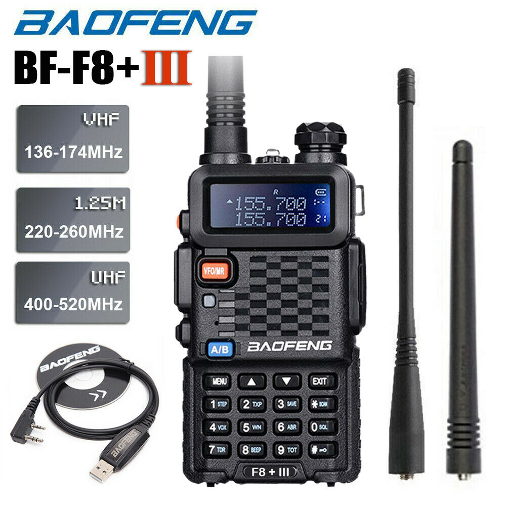 Baofeng BF-F8+ III Upgrade Walkie Talkie Police Two Way Radio 5W UHF VHF Dual Band Long Range Ham Transceiver With Program Cable
