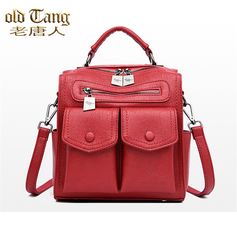 OLD TANG Multifunction Shoulder Bags for Women 2021 Soft Leather Ladies Small Backpacks School Bags