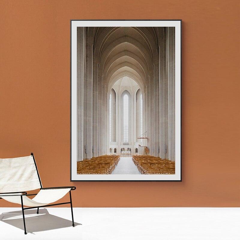Carteles e impresiones del corredor de la iglesia gótica Europa arte de la pared de Morocco pintura en lienzo cuadros de pared para la decoración de la sala de estar