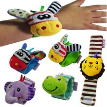 Animal Baby Bell Toys Cute Plush Wrist Band Plush Toy Animals Play Strap Baby Rattles Hand Promote T