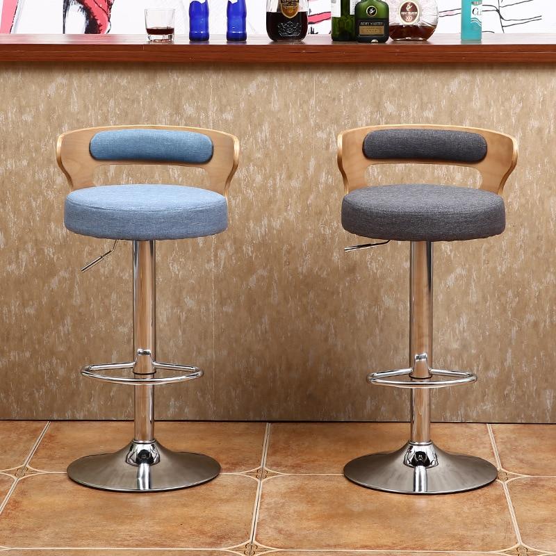 Современные барные стулья в скандинавском стиле из массива дерева, вращающиеся высокие стулья для подъема, домашний кассир, стул для перего...