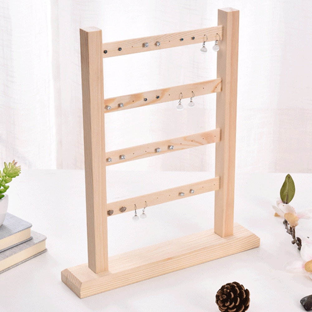 4 Layer Show Necklaces Stand Findings Wooden Organizer Jewelry Display Practical Hanging Bracelets Earrings Rack Holder Storage