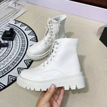 Size 34-43 2021 INS Woman Real Leather Ankle Boots Fashion Shoes Woman Short  Winter Warm Boots Plat