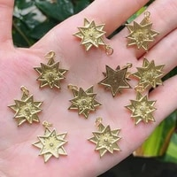 10pcs gold plated brass star zircon pendant charm for jewelry making
