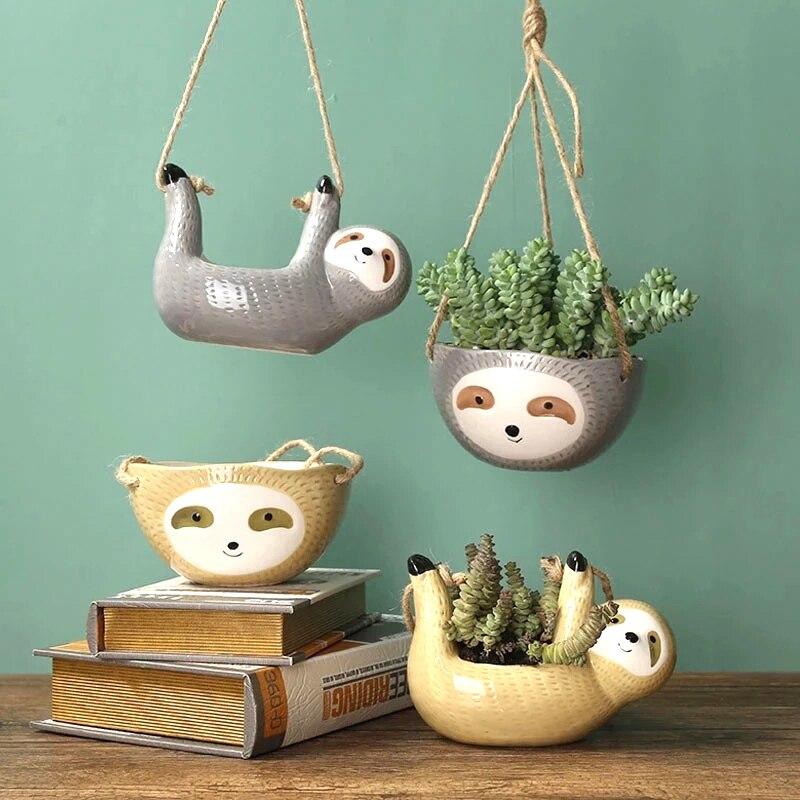 Креативные керамические горшки для растений, подвесные цветочные горшки скандапсус хлорофитум, Мультяшные ваза с животными садовый декора...
