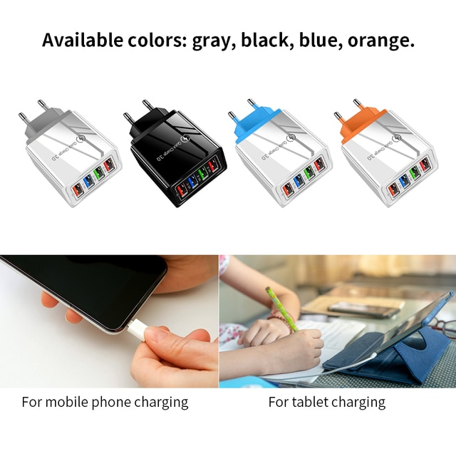 Universal Phone Charger 4 USB Ports Mobile Charging Head Fast Charge 3.0 For iPhone For Samsung S10 For Xiaomi For Huawei 6
