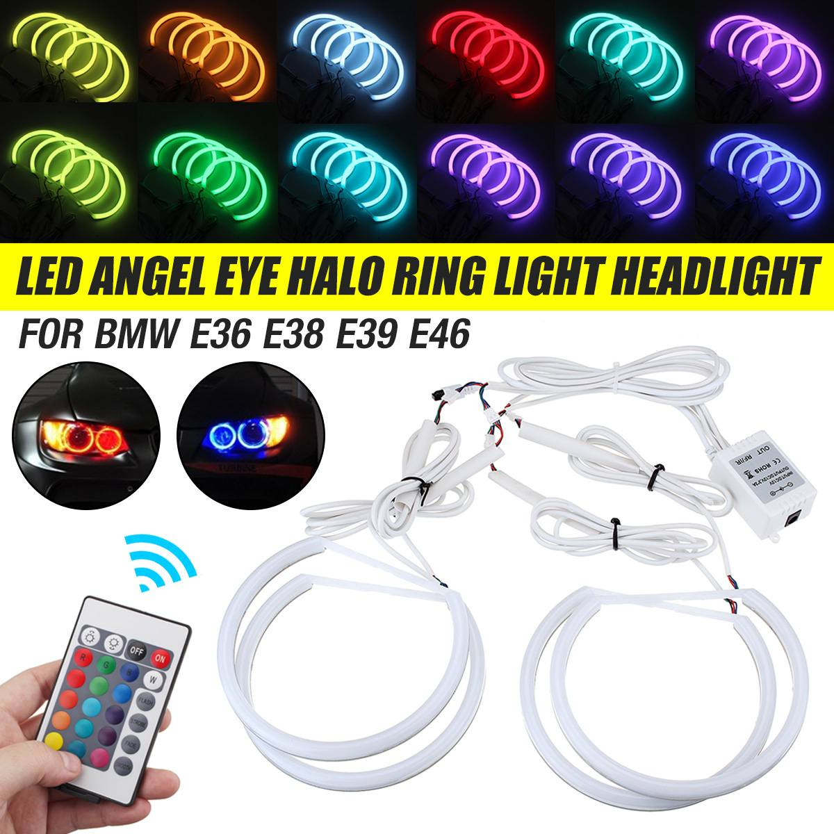 4x131mm Multi-Color RGB LED Angel Eye Halo Ring Light Headlight Cotton Lights Car Light Accessories For BMW E36 E38 E39 E46